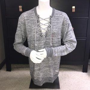 VS PINK V-neck Lace Up Sweater